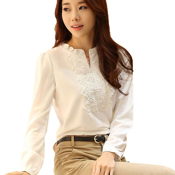 top popular Good Quality Spring Autumn White Blouse Chiffon Shirt Women Lace Crochet Pearl Beading Long Sleeve Top Office Lady S-XXL T5528 2021