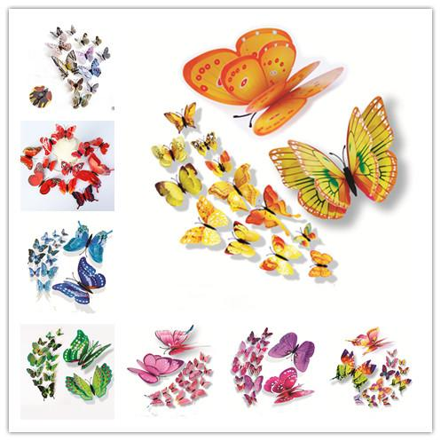 Cinderella Double Layer butterfly 3d butterfly decoration wall stickers 12pc 3d butterflies pvc removable wall stickers Manget butterflys