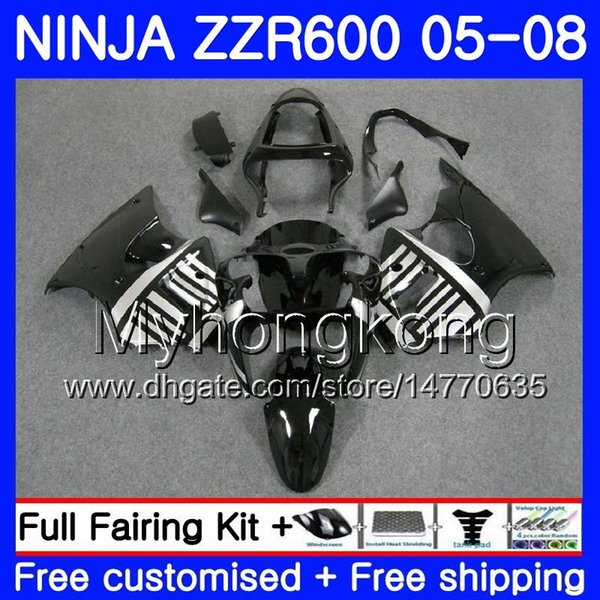 Bodys For KAWASAKI NINJA ZZR-600 2005 2006 2007 2008 Cowling 219HM.79 black new ZZR 600 600CC ZX600 CC ZZR600 Silver blk 05 06 07 08 Fairing