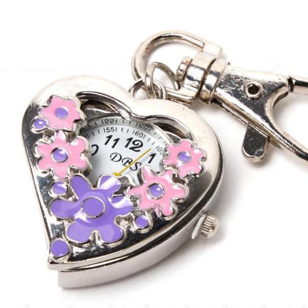 Sanwood Herzform Quarzuhr Blumen Taschenuhren Edelstahl Schlüsselanhänger Kette NEU