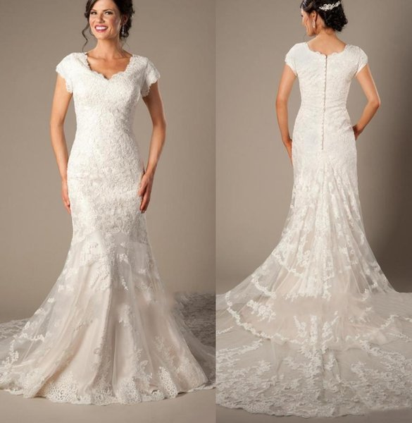 Vintage Lace Appliques Mermaid Wedding Dresses