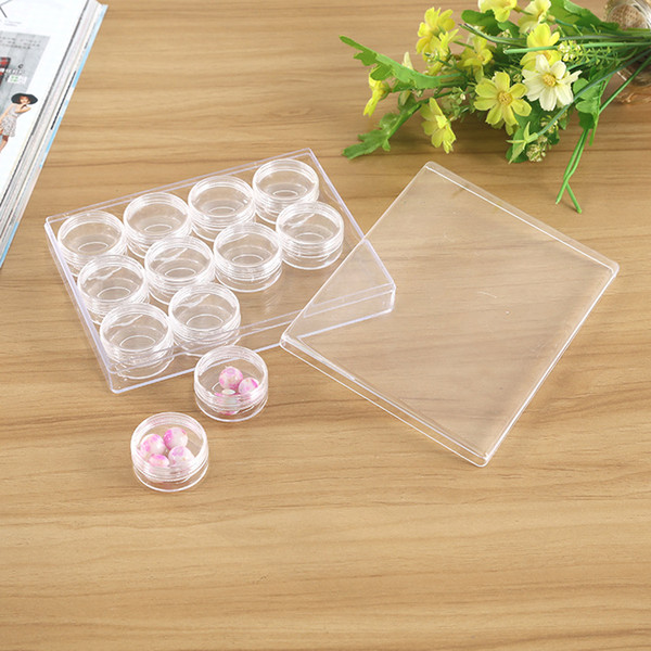 12 Plastik Yuvarlak Boş Şişe Kutusu Tırnak Sanat Mücevher Taklidi Tozu Saklama Kutusu Küçük Temizle Kavanozlar