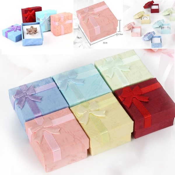 High Quality Jewelry Storage Paper Box Multi colors Ring Stud Earring Packaging Gift Box For Jewelry 4*4*2.7 cm 48pcs/lot