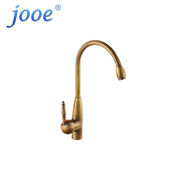 jooe Kitchen Faucet Gold Antique Brass Brushed 360 Degrees Rotation Cold And Hot Mixer Single Holder Single Hole Water Tap W083