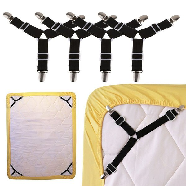 Hot Sale 4pcs/set Triangle Bed Mattress Sheet Clips Straps Blanket Suspender Fasteners Set Home Practical Tool free shipping free shipping