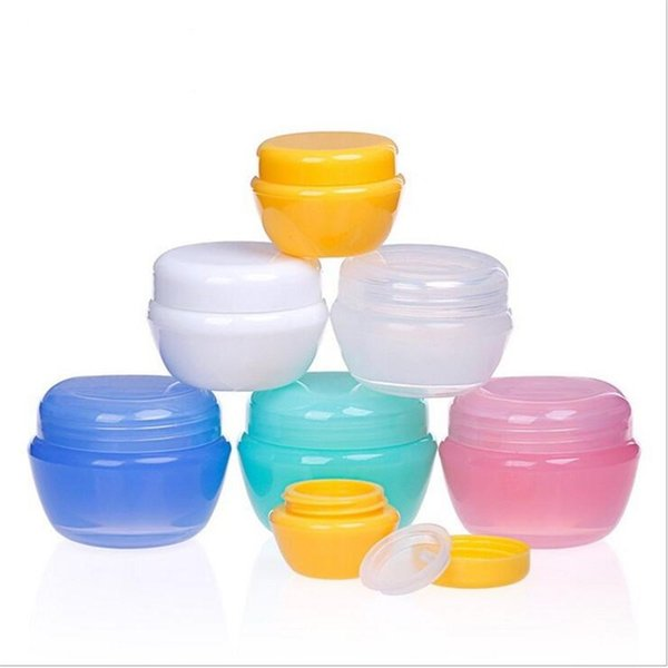 Bottiglia di plastica Funghi Cosmetic Empty Jar Pot Ombretto Balsamo per le labbra Crema Viso Campione Contenitore 5g 10g 20g 30g 6 colori