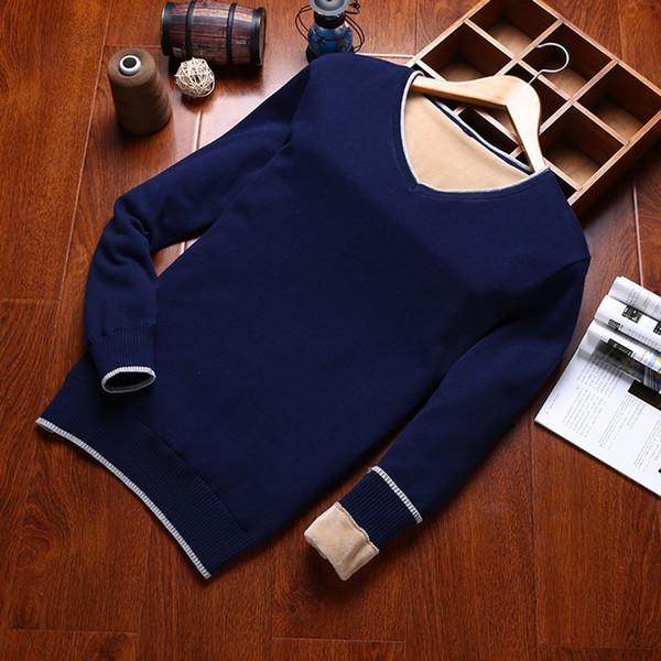 Varsanol 100% algodón grueso Suéter de los hombres Suéteres con cuello en V Suéteres casuales de manga larga Ajuste de punto Ropa sólida Nuevas llegadas