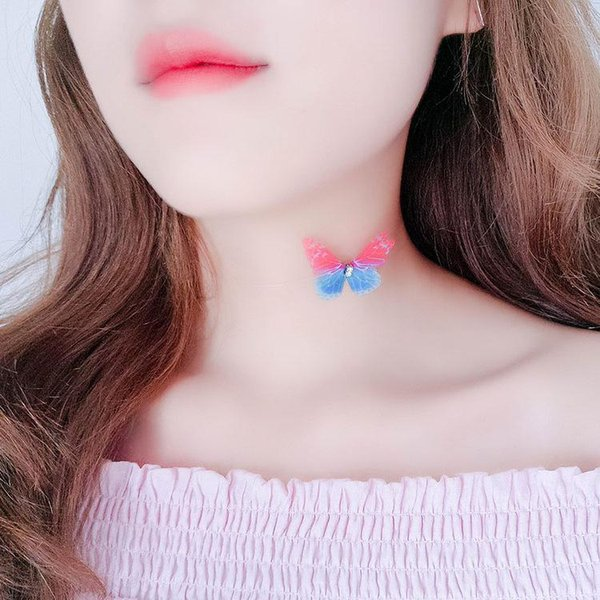 Choker Invisible Fish Line Butterfly Necklace Pendants Neck Women Clavicle Chain Lady Feminino Collar