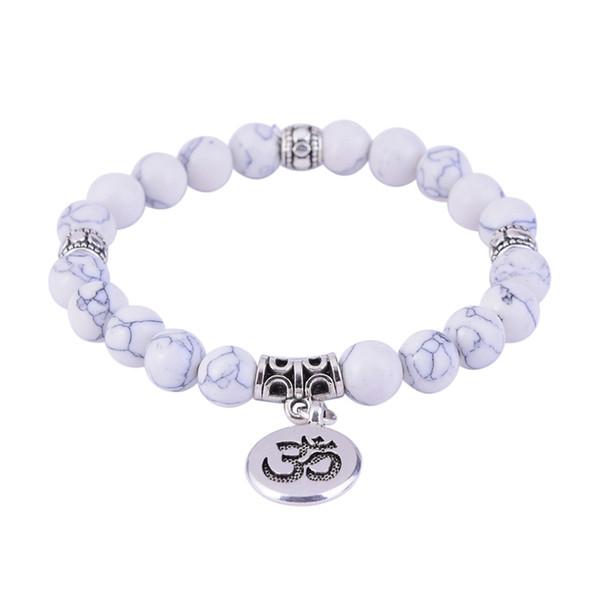 Branco Howlite Turquoises Beads Pulseira Branco Lotus Life Tree OM Buda Pulseiras Homens Mulheres Yoga Mala Talão Jóias de Meditação