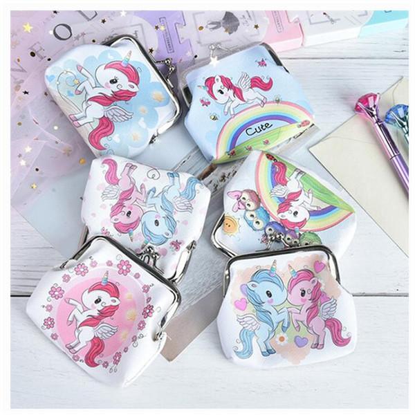 Magic Rainbow Unicornio Mini Clipper Coin Purse Womens pu Pequeño Monedero Monedero de la cartera de las niñas bolso 0358