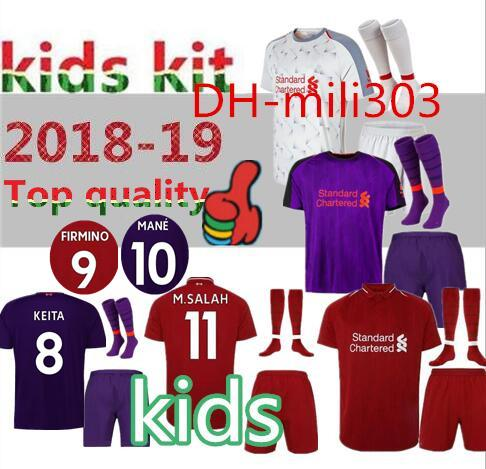 2018 2019 Kids kits M.SALAH home Soccer Jersey 18 19 KEITA SHAQIRI MANE  FIRMINO VIRGIL LALLANA away youth child Football shirt uniforms 8c46fde01