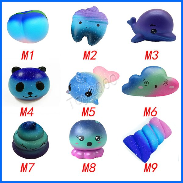 Hot Star Sky Color Squishy toys Peach toothed panda clouds porpoise dolphin poop cotton candy whale octopus Slow Rising Rebound for kid toys