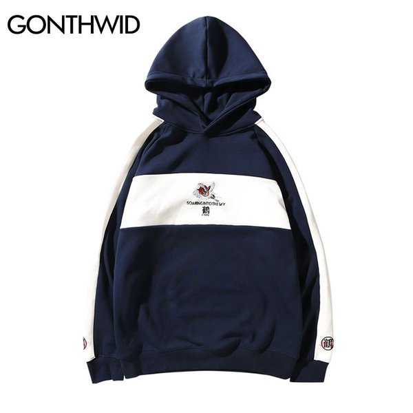 GONTHWID Mens Color Block Embroidery Crane Fleece Hoodies Hip Hop Casual Patchwork Pullover Hooded Sweatshirts Streetwear Male