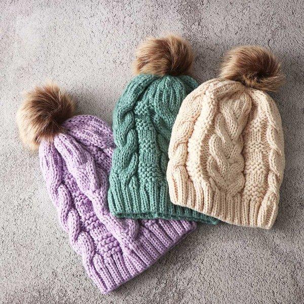 Fashion Women Fur Artificial Wool Crochet Knit Hat Cute PomPom Ball Beanie Cap Skully Warm Ski Hat Trendy Soft Brand Lady Caps