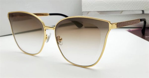 Fashion Designer Sunglasses AA042 cat eye crystal cutting surface frame top quality metal legs with sequins veneer uv400 protection eyewear