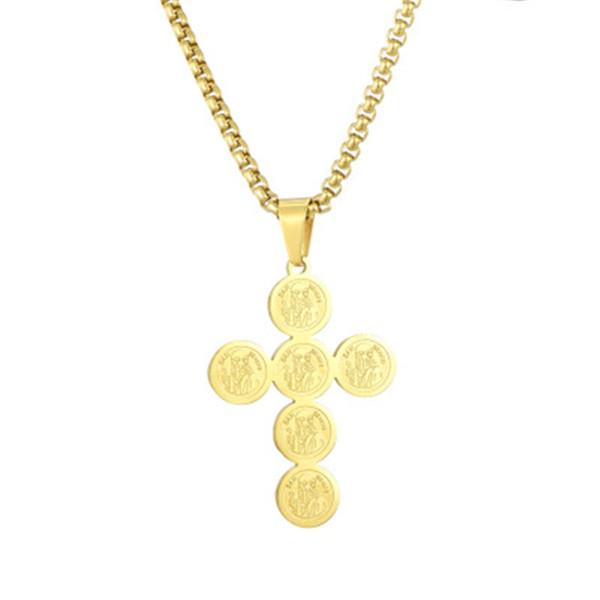 San benito colar de pingente de cruz banhado a ouro de aço inoxidável  pingente de 60 5b242c2f4d