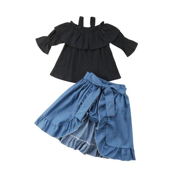 New Fashion Kids Baby Girl Off Shoulder Black Tops Short Pants Hemlines Blue Fall Dress 3Pcs Clothes 1-6T
