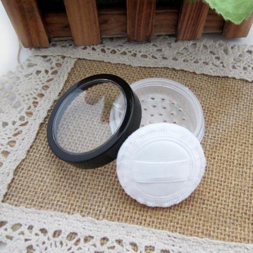 100 unids 20 ml / 15g frasco de polvo suelto con tamiz recipiente de brillo de uñas con ventana clara tapa del borde negro