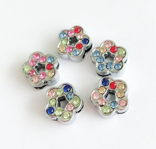 10PCs Mixed color Rhinestone 8MM Flowers Slide Charms Beads DIY Accessories Fit 8mm Pet Collar Belts Bracelets