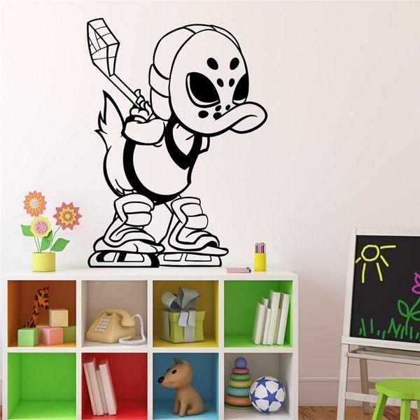 Acheter Contes De Canard Stickers De Hockey Sur Glace Stickers De Dessins Animes De Classe Interieur Salon Stickers Muraux Decoration De La Maison