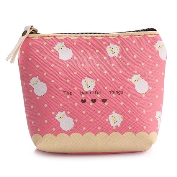 Hot Fashion Wasserdicht Reißverschluss Federmäppchen Cute Eine Gruppe Schafe Portable Key Geldbörse Make-up Tasche rosa