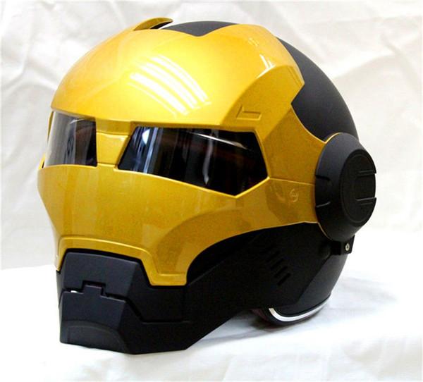 Kostenloser Versand Top ABS Moto Biker Helm MASEIS Iron Man Persönlichkeit spezielle Mode halb offenes Gesicht Motocross Helm schwarz Masei