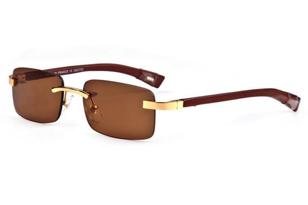 Square france Famous Brand Buffalo Horn plastic glass rimless big knife gold and wooden leg Glasses chiali lunettes de soleil de marque