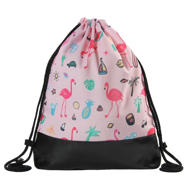 2018 Flamingo Kordelzug Druck Leder Boden Rucksack Frauen Brand New 36 * 46,5 Mode Feminina Kordelzug
