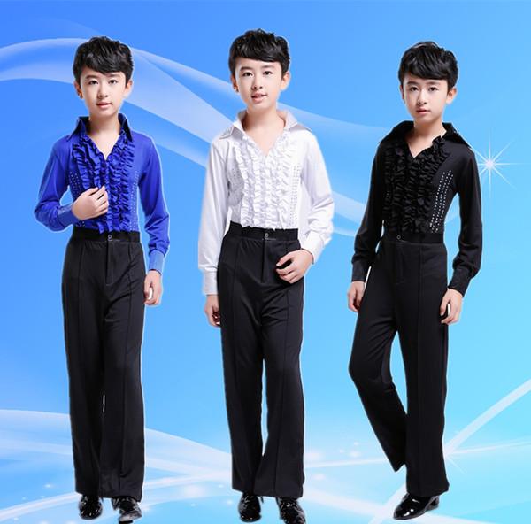 New Boy Latin ballroom costume Sets children Latin Shirt+pants suit Rumba Samba Dancewear dance competition clothes