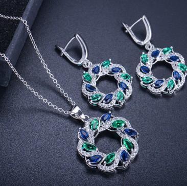 wonderful more oclor circle diamond heart diamond crystal stone bride wedding jewelry set necklace earings (41)wghf