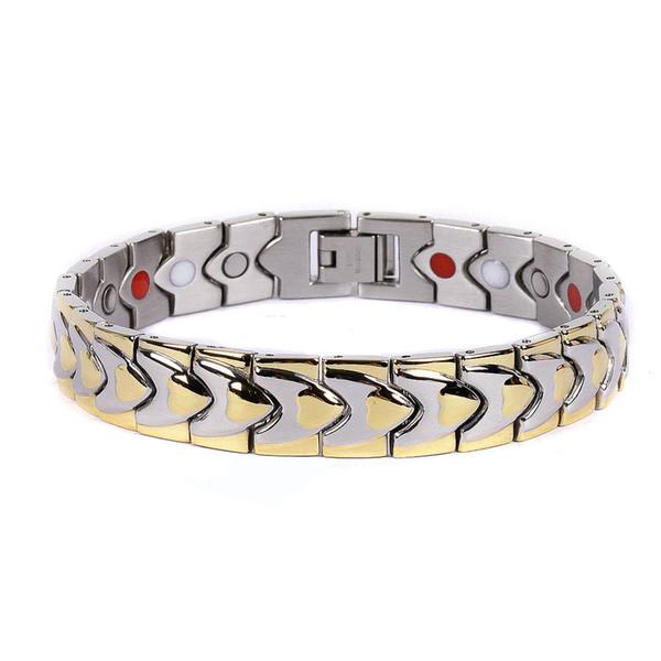 Stainless Steel Magnetic Bracelet 2 Tone Titanium Steel Magnetic Therapy Bracelet Health Care Bracelet W/ Magnet 2000 Gauss