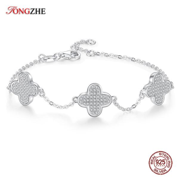 TONGZHE Cute Four Leaf Clover Bracelet 100% 925 Sterling Silver Luxury 3 Lucky Flower Crystals Bracelets For Women Fine Jewelry