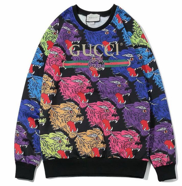 Men fashion hit color round neck high quality thin section slim sweater animal pattern color casual sports personality sweater