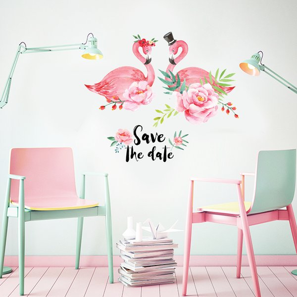 New Designer Wallpaper Wall Stickers Love Flamingo Style PVC Waterproof Can  Be Removable Vinyl Wall Posters Home Bedroom Background Decor Images In ...