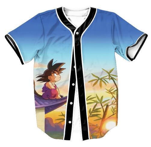 Nouveau mode hommes / femmes 3D Cartoon T Shirt Imprimer Dragon Ball Z Goku Saiyan Baseball Jersey T Shirt D'été À Manches Courtes Tops
