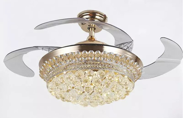 Modern LED crystal invisible fan ceiling lamp 42 inch remote control fan lamp living room ceiling lamp LLFA