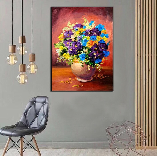 Hand Painted Abstract Still life beautiful flowers oil painting on Canvas Modern Wall home Decor Art Picture Handmade For Sale