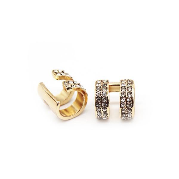 10 Par Na Moda Pequeno Rodada Ear Cuff Brincos Para As Mulheres Banhado A Ouro E Prata 2 Linhas Strass Clipe Brincos Sem Piercing