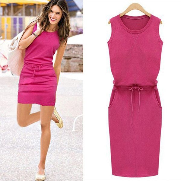 Pure Color Patchwork Shift Vestidos Summer Fashion Women Ladies Casual Dress Roound Neck Sleeveless Solid Slim Dresses Plus Size