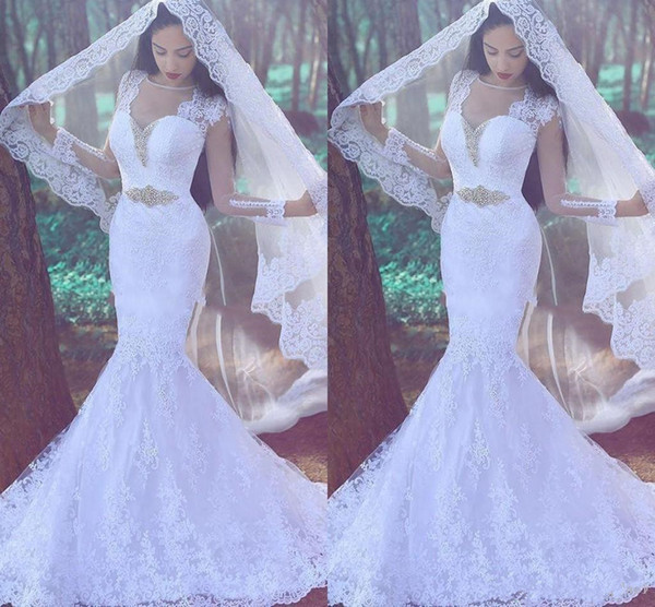 2019 Mermaid Wedding dress long Sleeve Arab Bridal Dress with veil Sweep Train custom made full sheer Lace Applique Wedding party Gowns