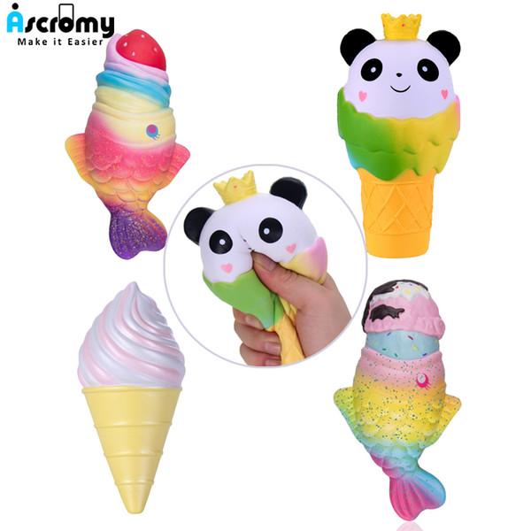 Ascromy Squishy Stress Relief Toys Squishies Suave Crecimiento Lento Jumbo Panda Fresa Pescado Helado Regalo Exquisito Para Niños