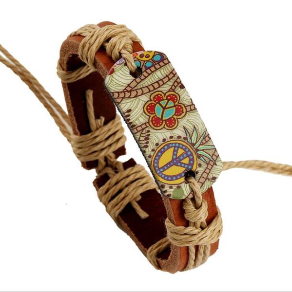 2018 HOT Leather Bracelets Peace Wrap Bracelets Adjustable Printed Flower Leather Bracelet For Men Love Bracelets For Women B01500