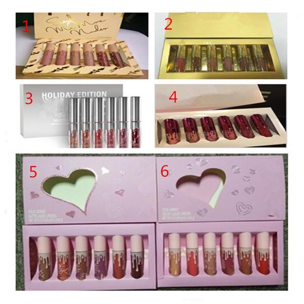 new Hot Lipkit Valentine Edition 5 style beautiful 6pcs Set Lipstick Lipgloss High Quality Valentine Gift