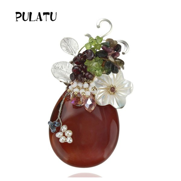 PULATU 2017 Flower Handmade Brooch For Women Elegant Crystal Shell Stone Badges Corsages Brooches Female Sweater Suit Accessory