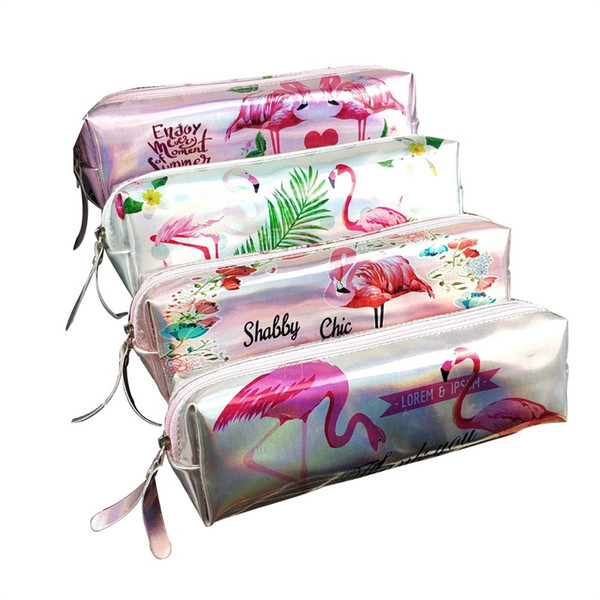 Creative Flamingo Pencil Box Laser Pencilcase Oblong Shape Zipper Pen Bag Student Stationery Supplies Many Styles 3 7sk C