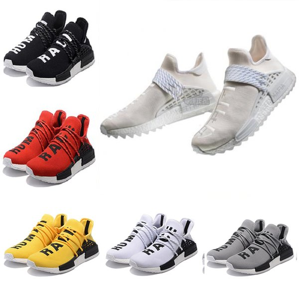Acheter Adidas NMD Human Race Pas Cher Human Race HU Trail Chaussures De Course Homme Femmes Pharrell Williams Holi Toile Vierge Baskets Pour Hommes