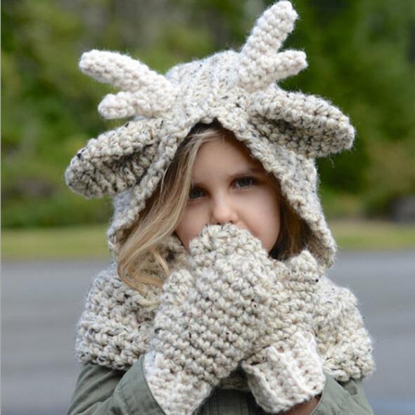 enfants chapeau gant ensemble hiver laine wapiti chapeau à capuche écharpe gants 3 en 1 bébé chaud tricot casquettes de noël cadeau crocket chapeau KKA5993