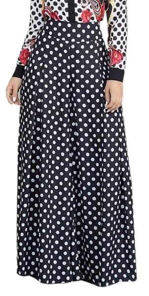 Womens High Waist Polka Dot Long Palazzo Wide Leg Pants