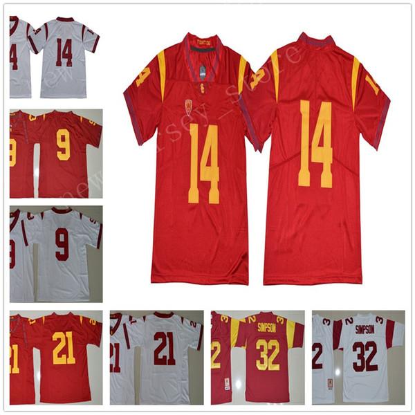 new arrivals 5aae0 20fda 2019 USC Trojans 9 JuJu Smith Schuster Jersey Men College Football 14 Sam  Darnold 21 Adoree Jackson 32 OJ Simpson Stitched Red White Size S XXXL From  ...