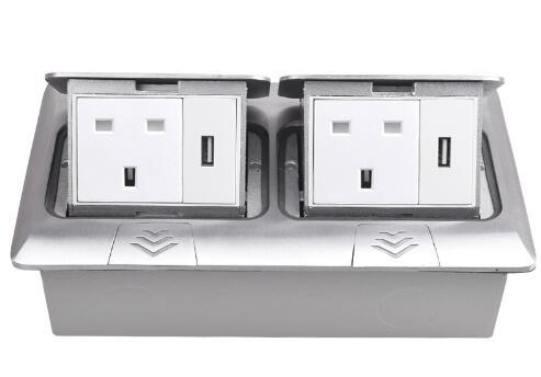 best selling All Aluminum Panel Pop Up Floor Socket 13A UK Standard Power Double Outlet With 2 USB Charging Port